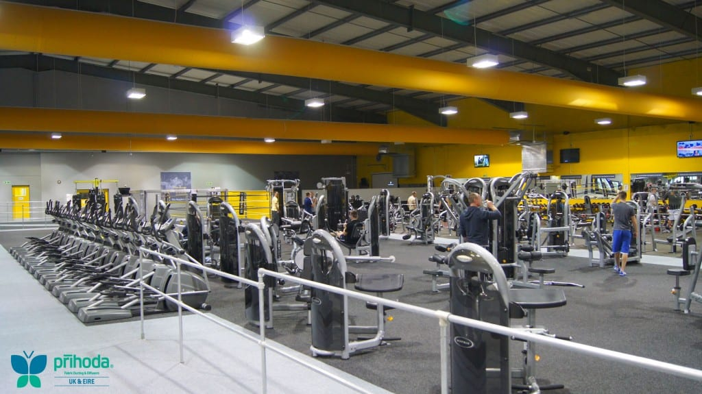 gym ventilation above rows of machinery
