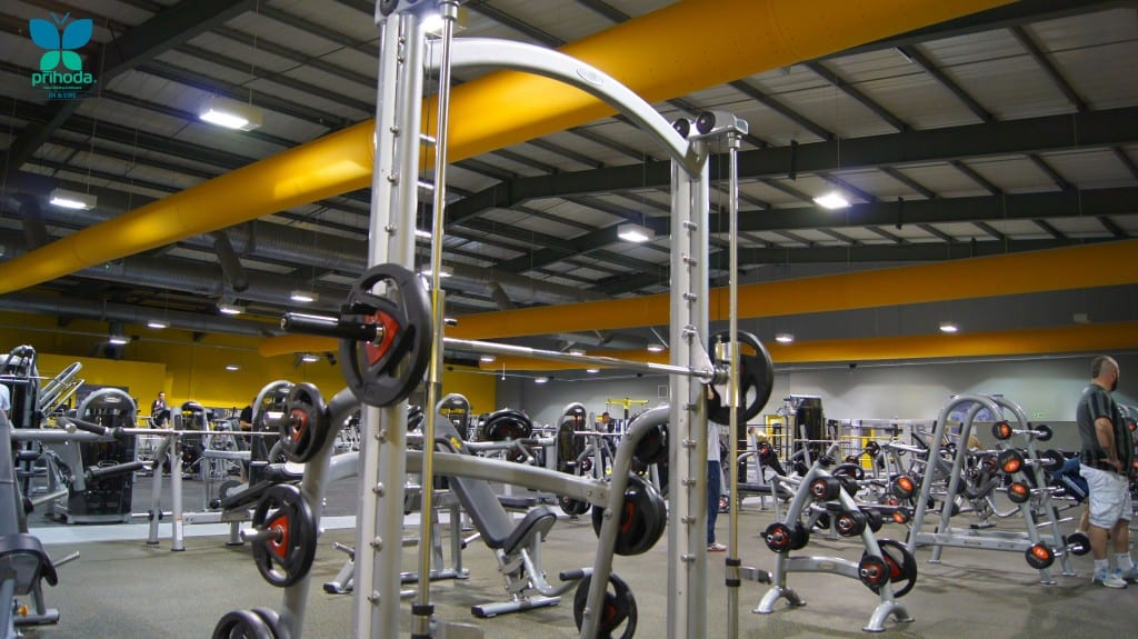 fabric ducting in weights area of a gym