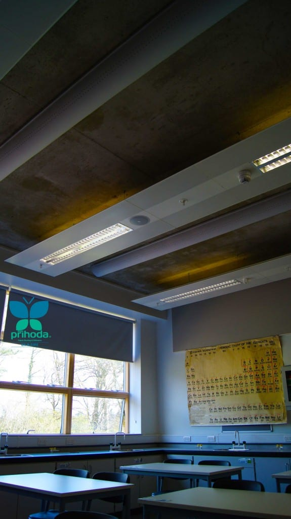 white fabric ducting in a school classroom facing window