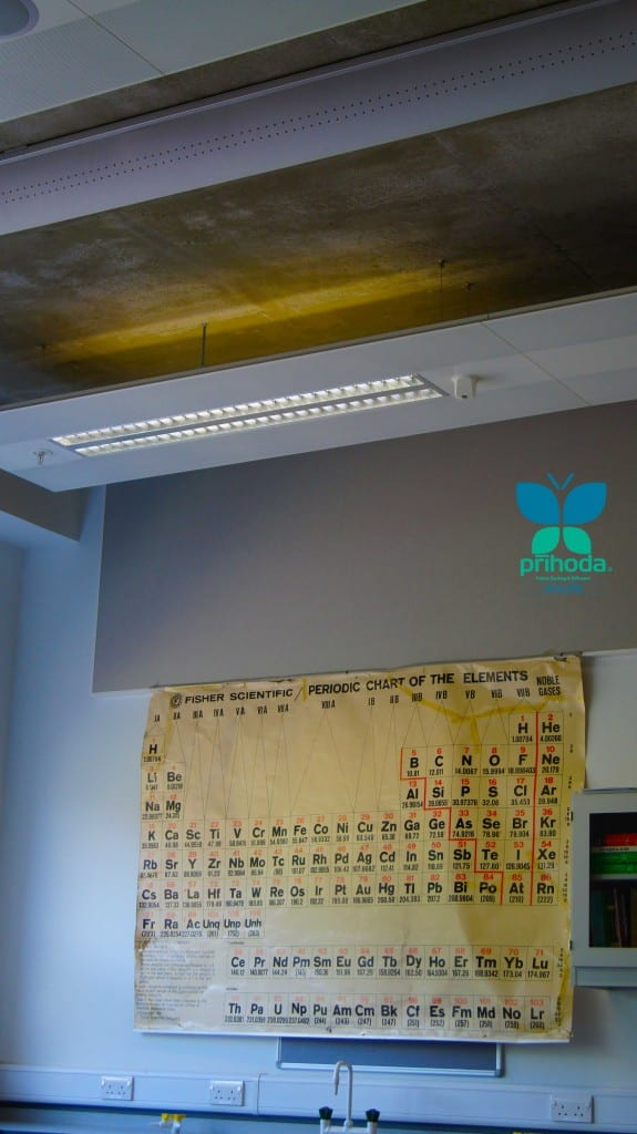 close fabric ducting shot in classroom