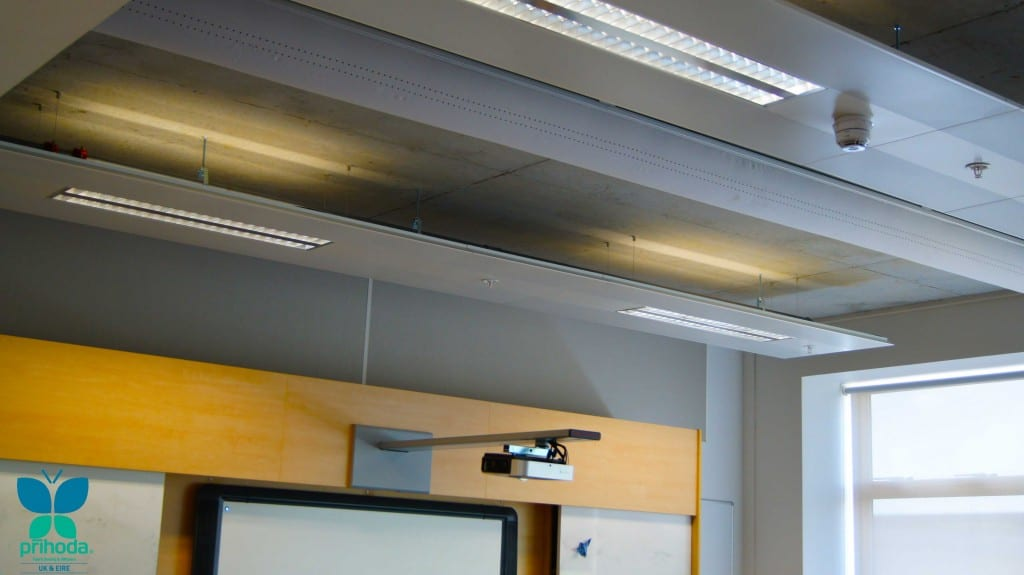 upper ceiling area showing fabric ducting in classroom