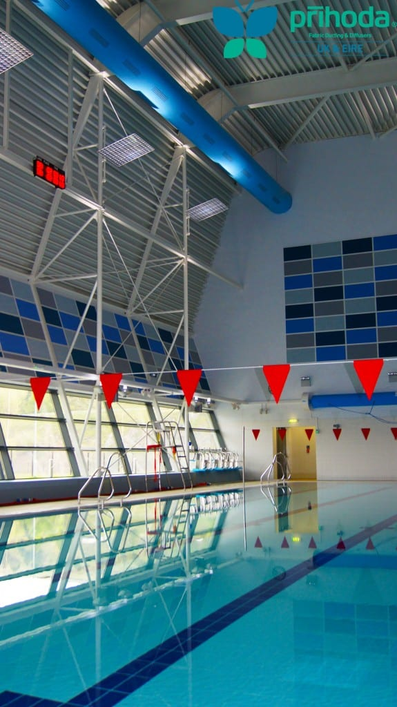 fabric ducting above water in swimming pool