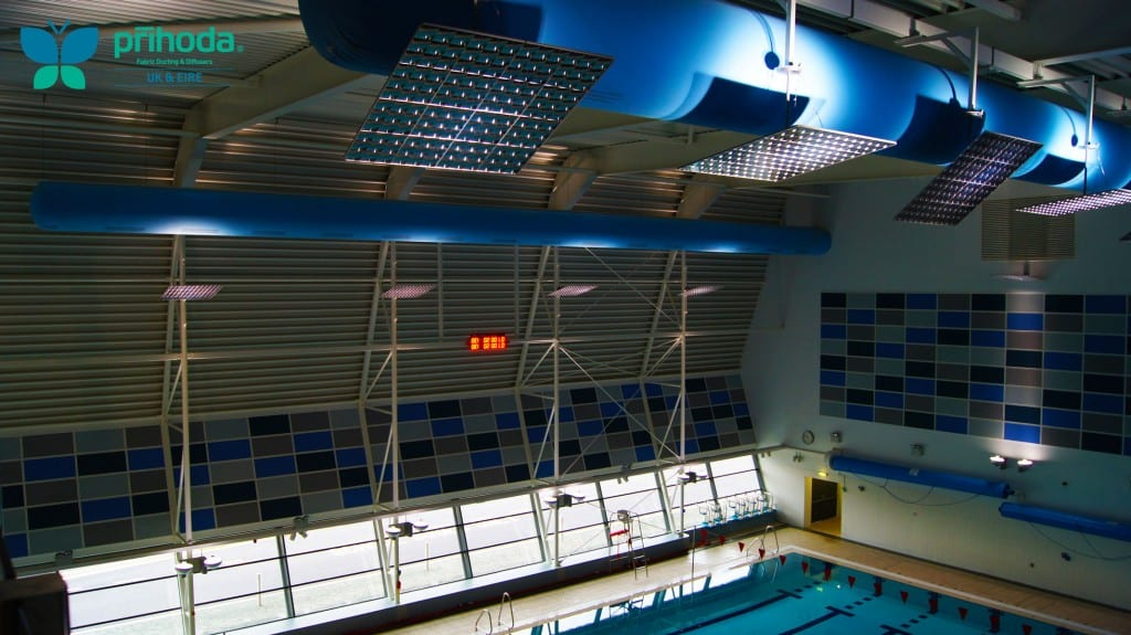 blue fabric ducting in swimming pool from above