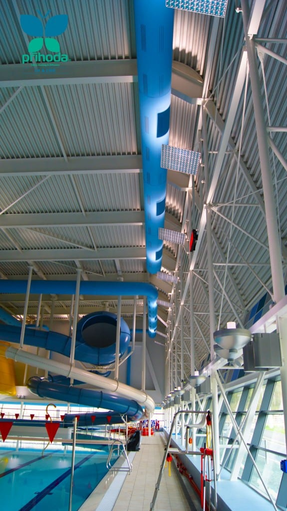 blue fabric ducting looking upwards in swimming pool venue