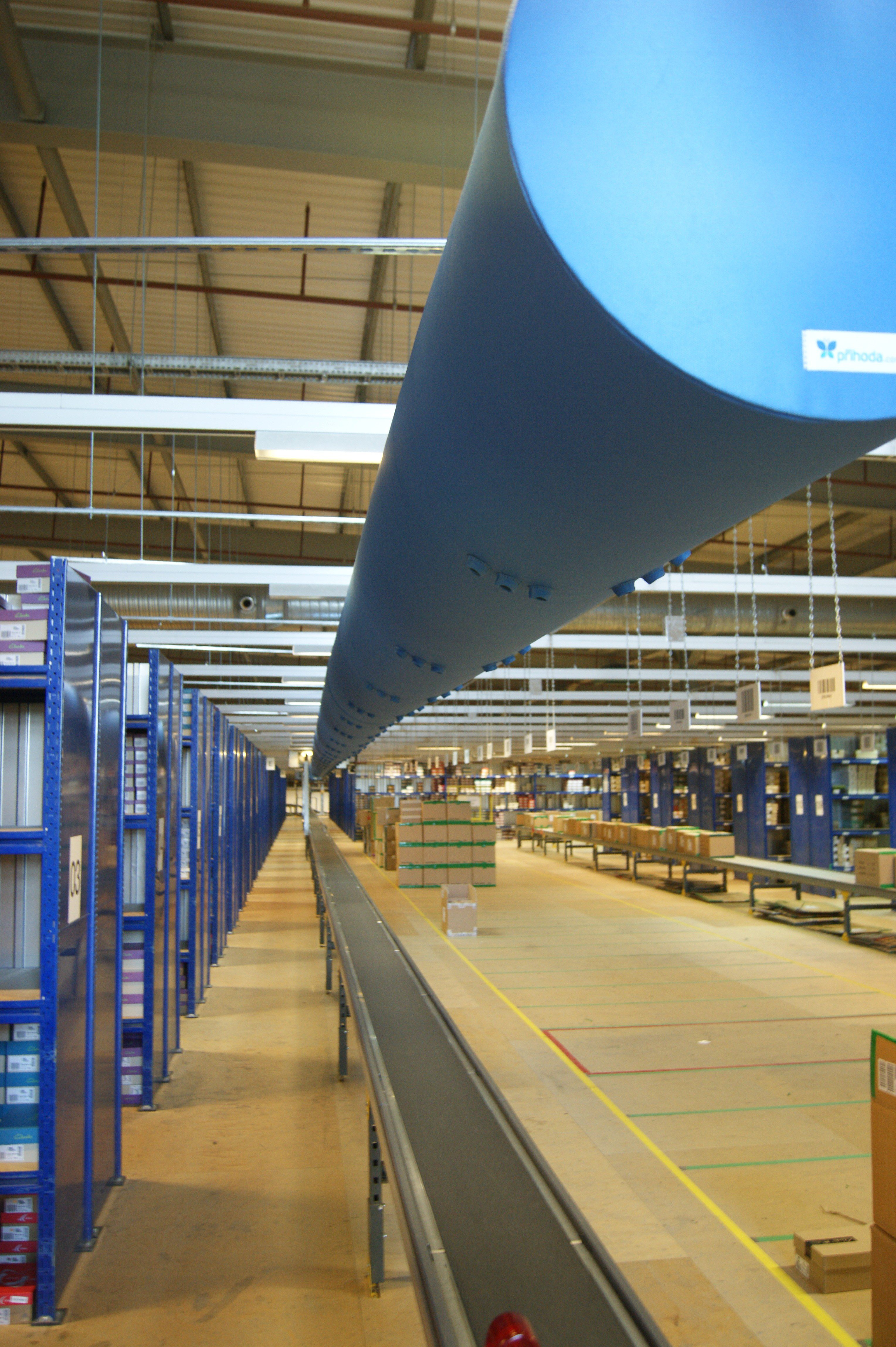 Fabric ducting immediately below base of structure in Clarks warehouse