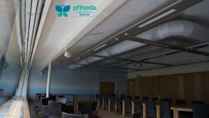 Conference room air conditioning with Prihoda fabric ducting