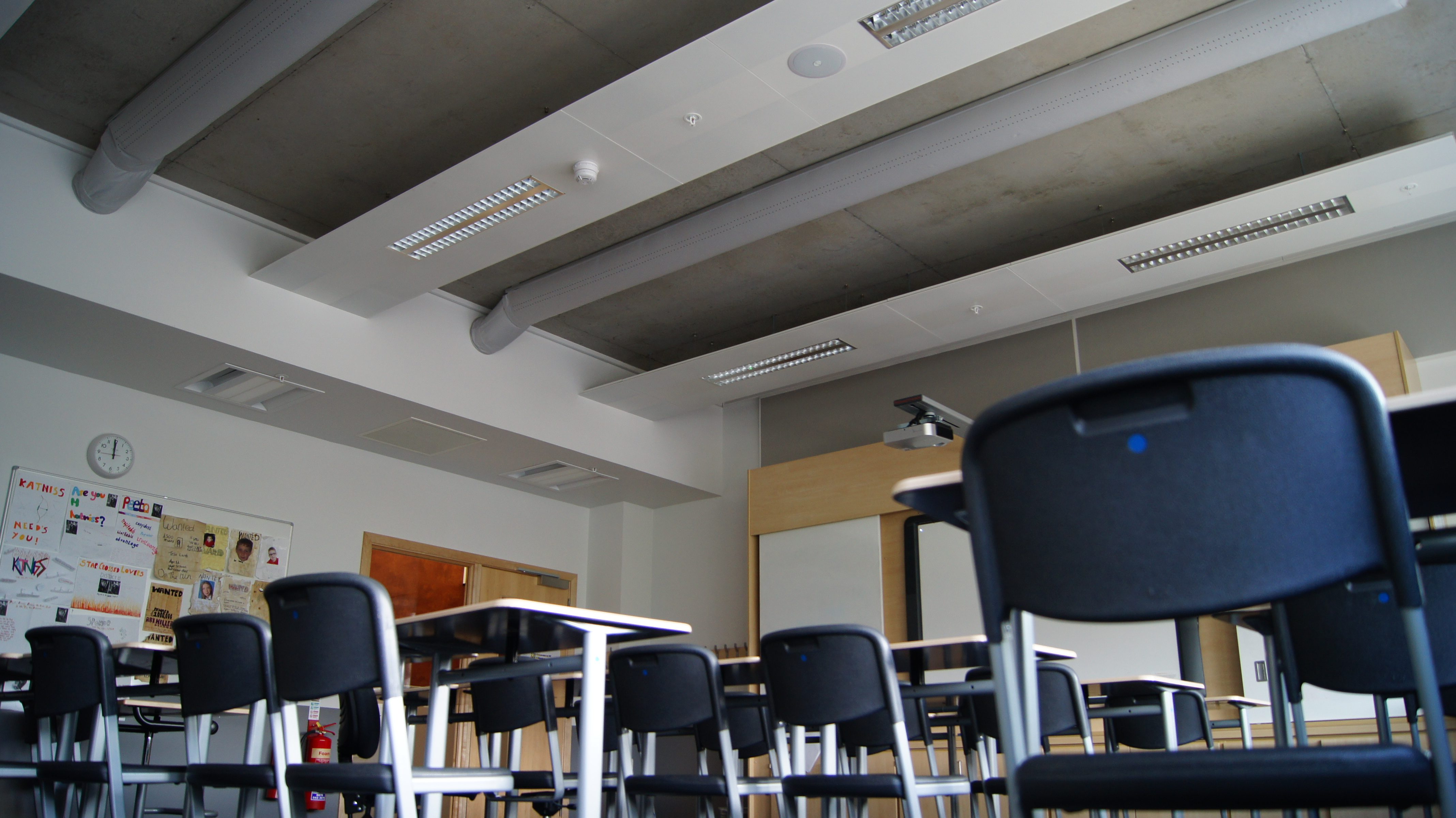 view of classroom ceiling mounted air sock ventilation