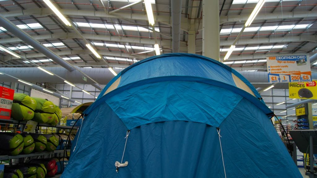 duct sock above tent indoors at decathlon