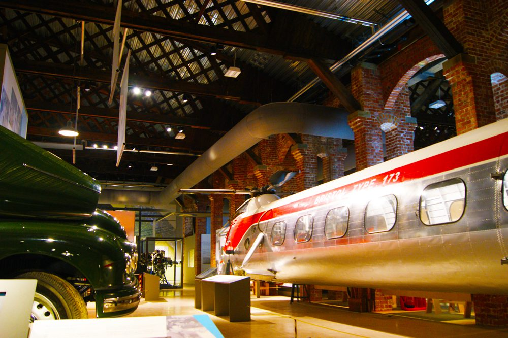 90 degree angled ducting in aerospace museum Bristol
