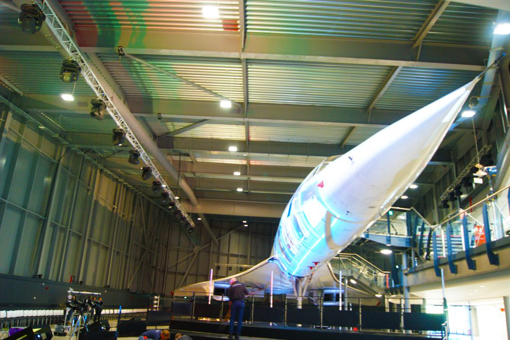 ducting above large aircraft in hanger at aerospace Bristol