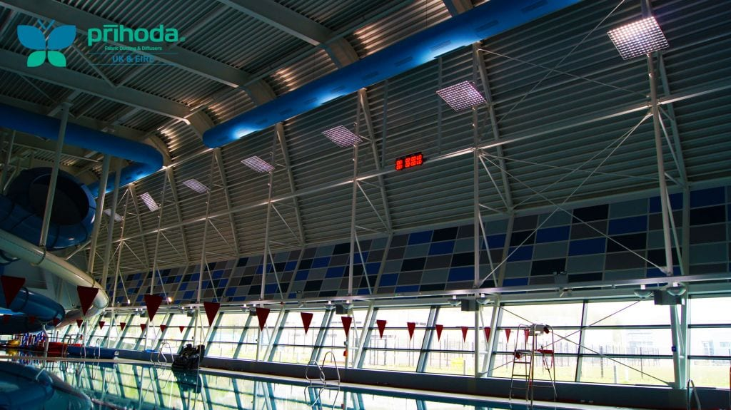 textile ductwork at indoor swimming pool