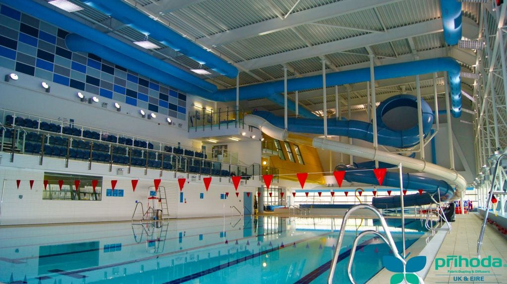 fabric air duct system at indoor swimming pool