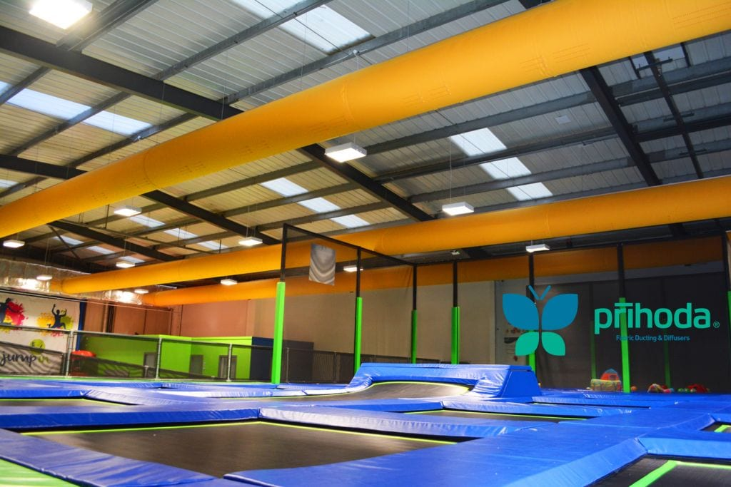 ducting socks above trampolines at indoor park