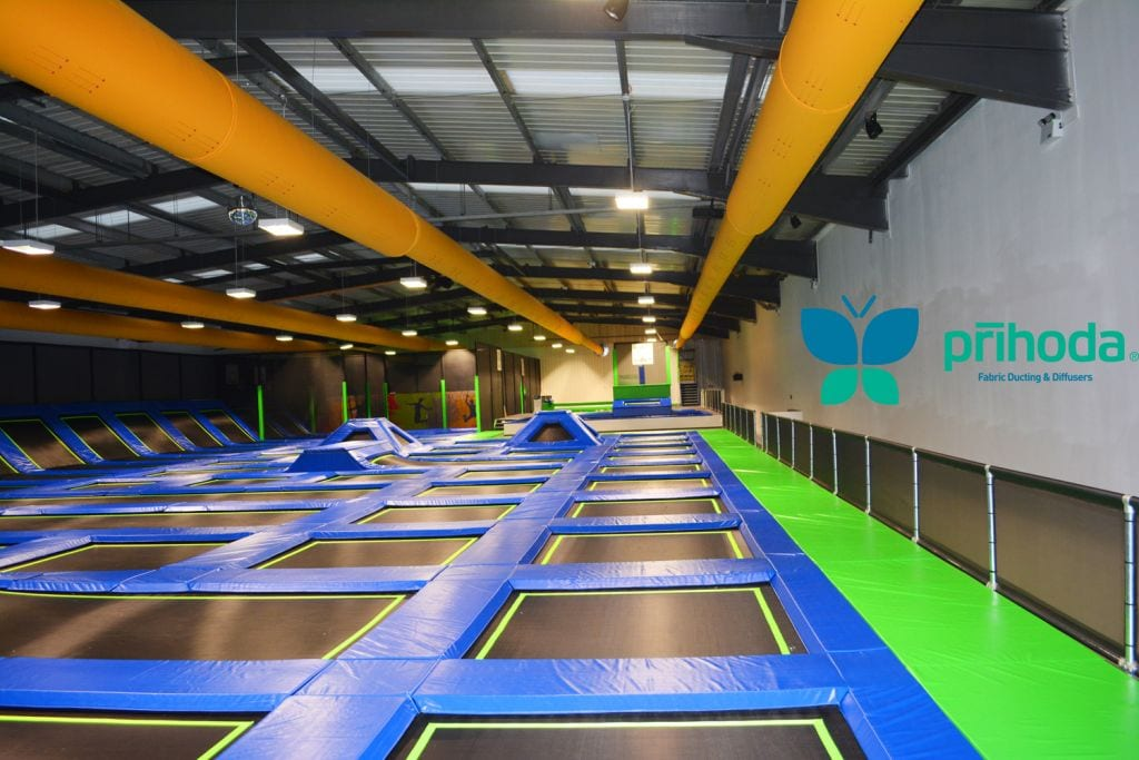 side view of fabric ducting at trampoline indoor park