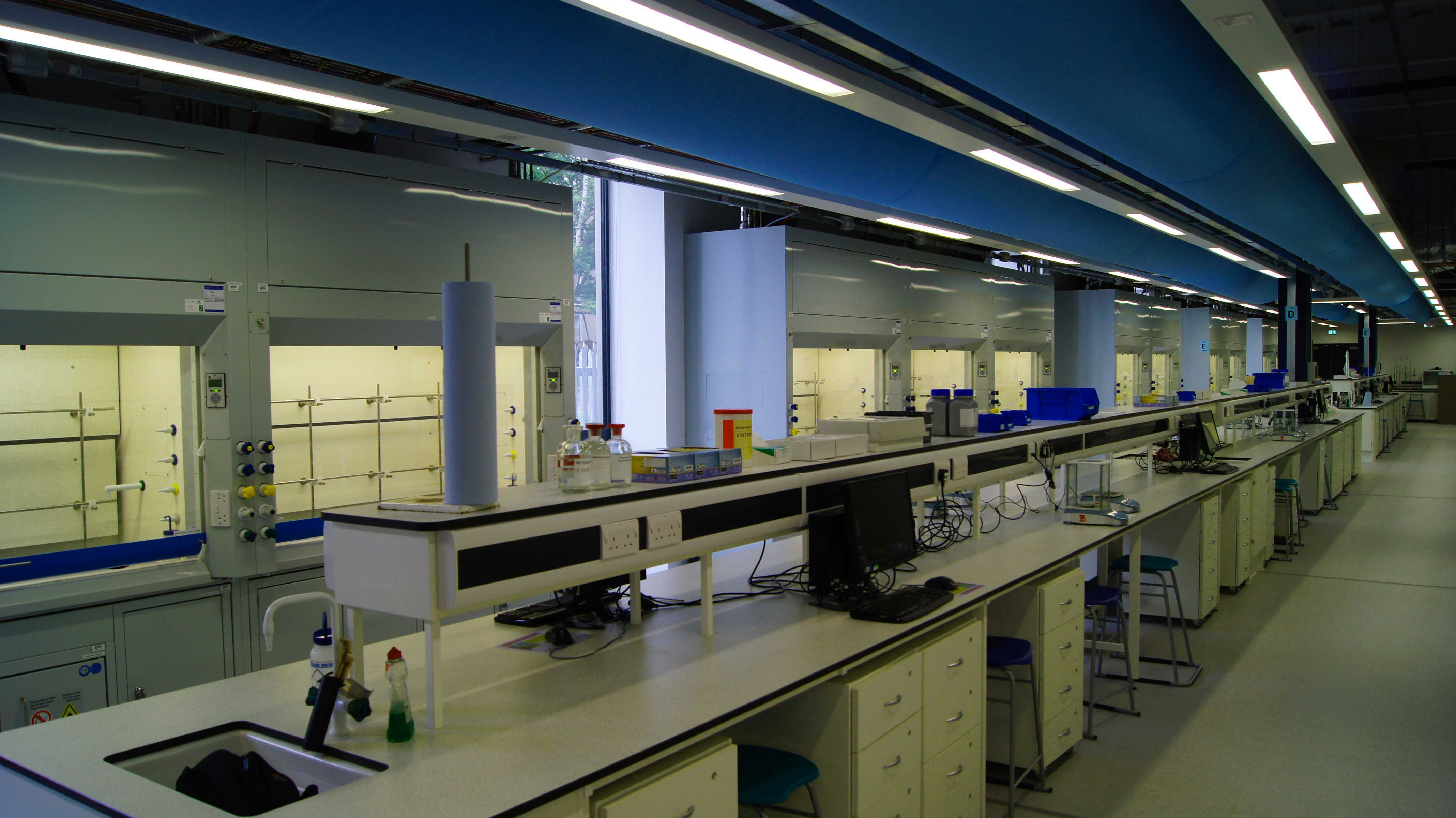 laboratory benches with air diffusers overhead