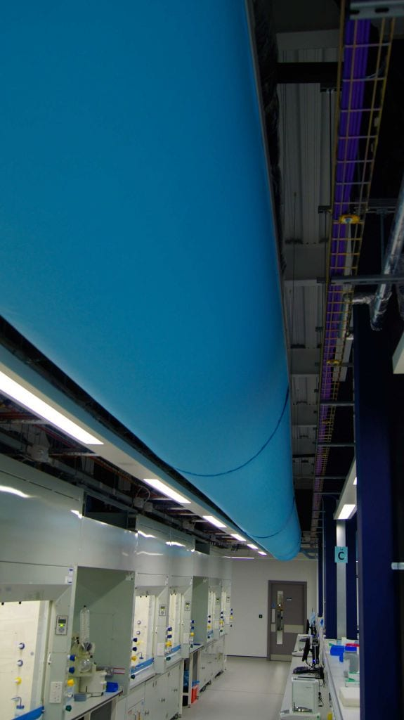 Ariel view of fabric duct in university of york laboratory above multiple workstations