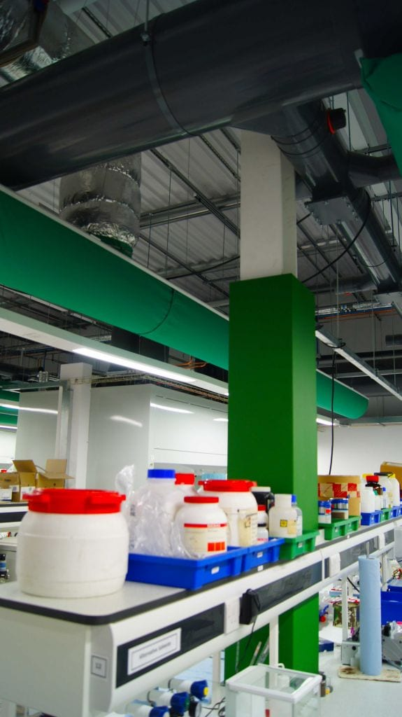 ducting above workbenches at chemistry laboratory in the university of york