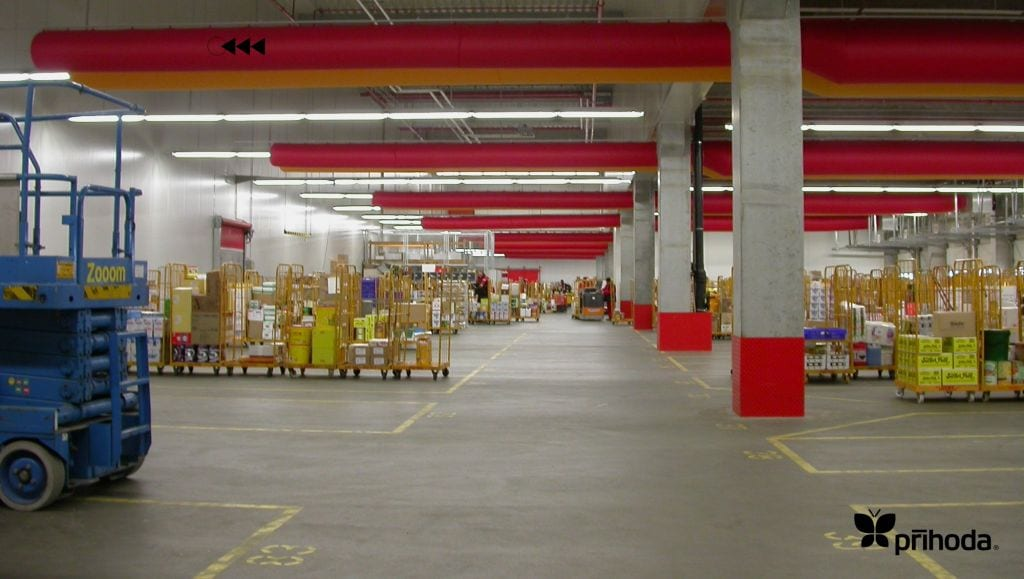 red ducting in a warehouse