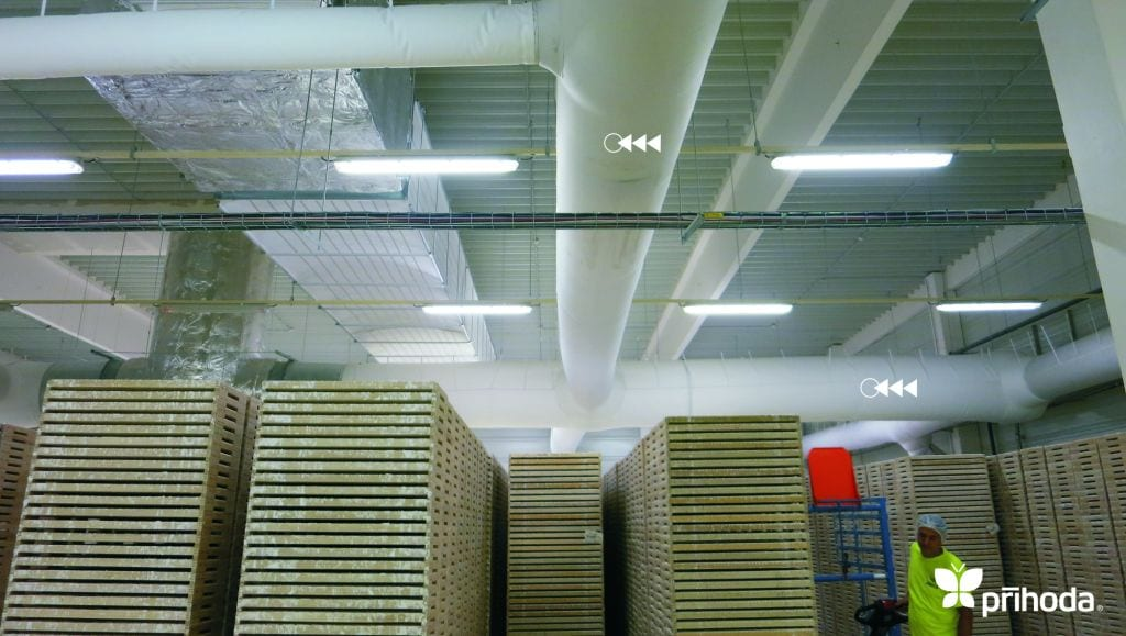 crates in a warehouse