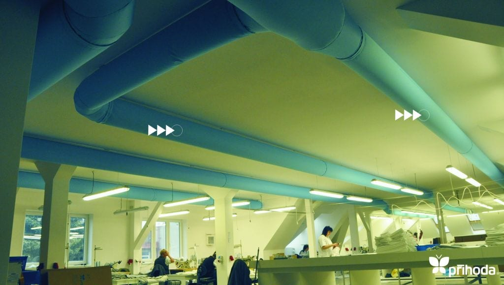 blue ducts on ceiling