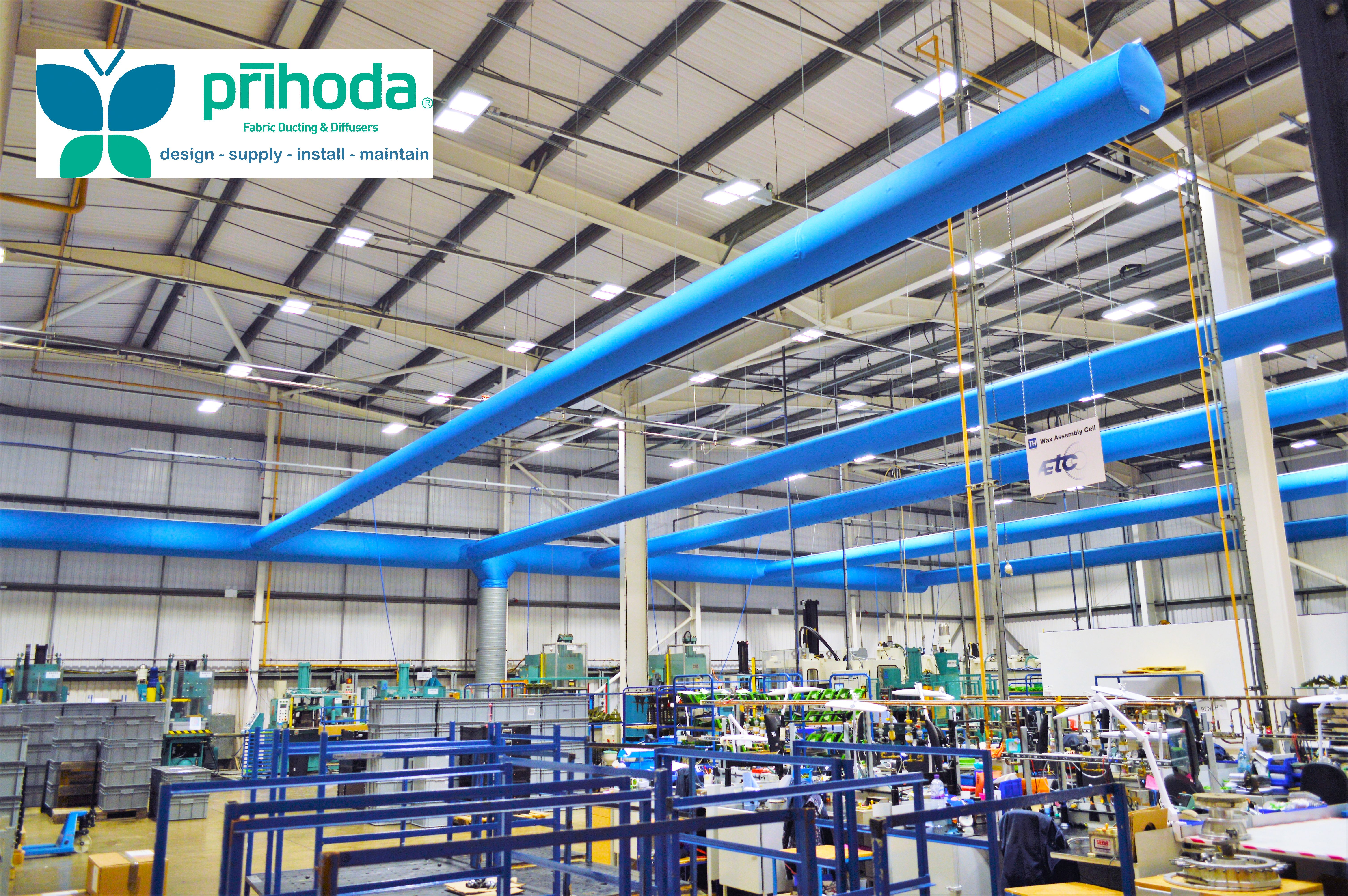factory view with antistatic material air ducting