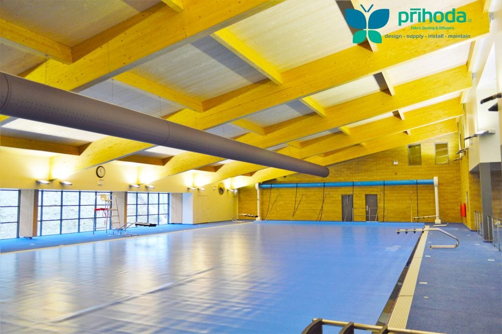 fabric duct in leisure center