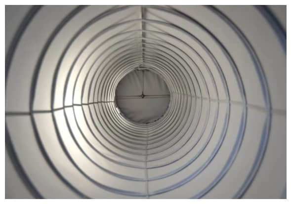 internal view of helix fabric ducting showing metal spiral in duct