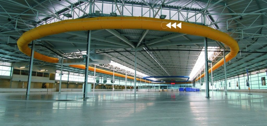 large yellow fabric duct