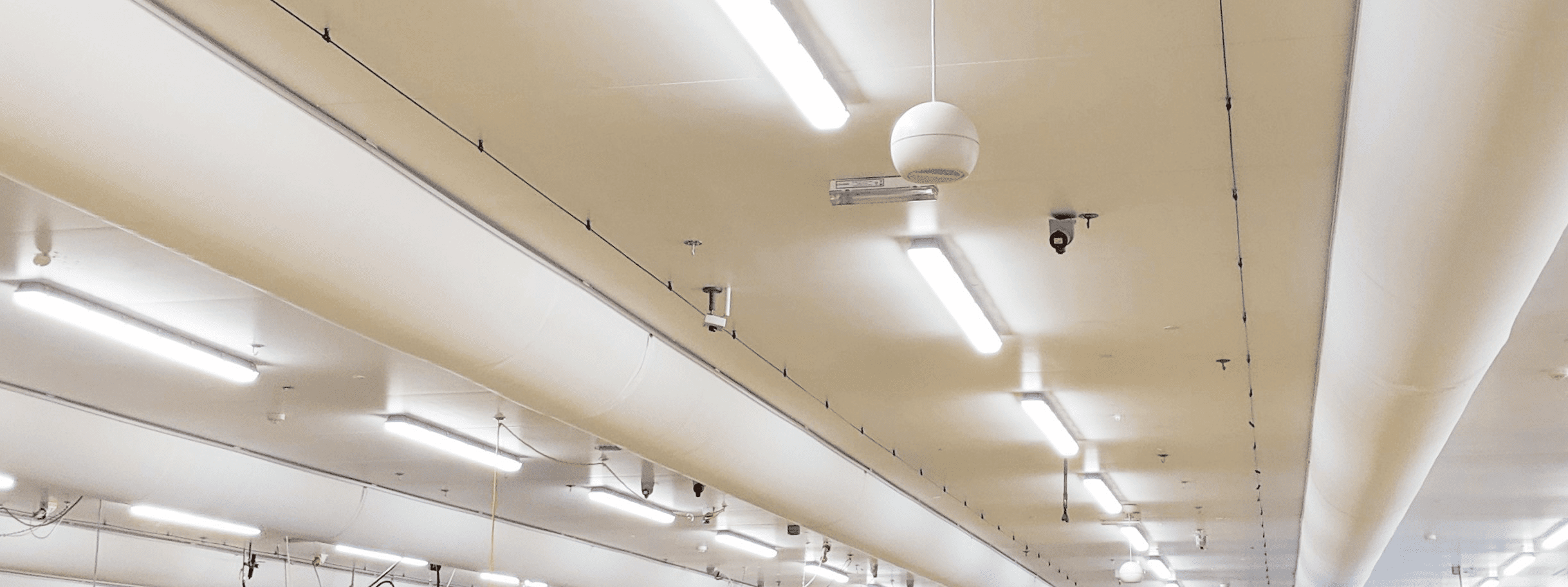 Hygienic fabric ducts in a food factory