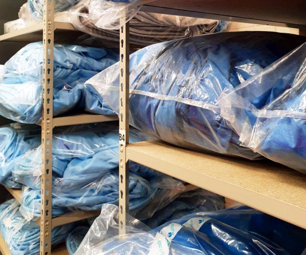 fabric ducts in clear bags