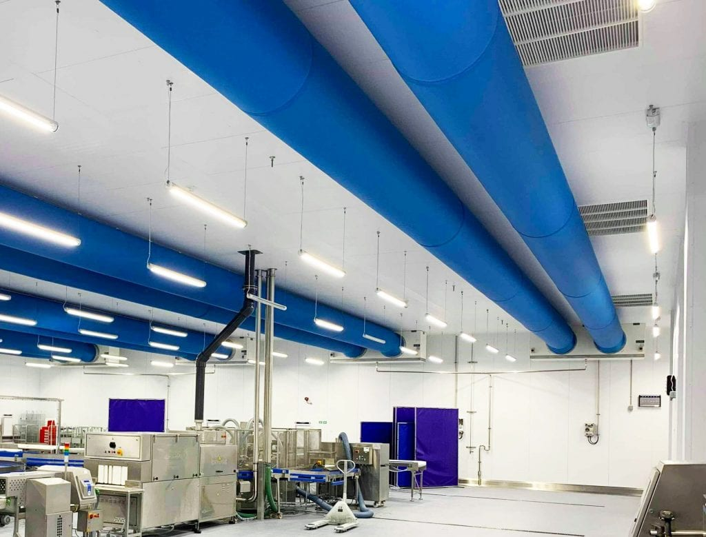 blue fabric ducting in industrial kitchen