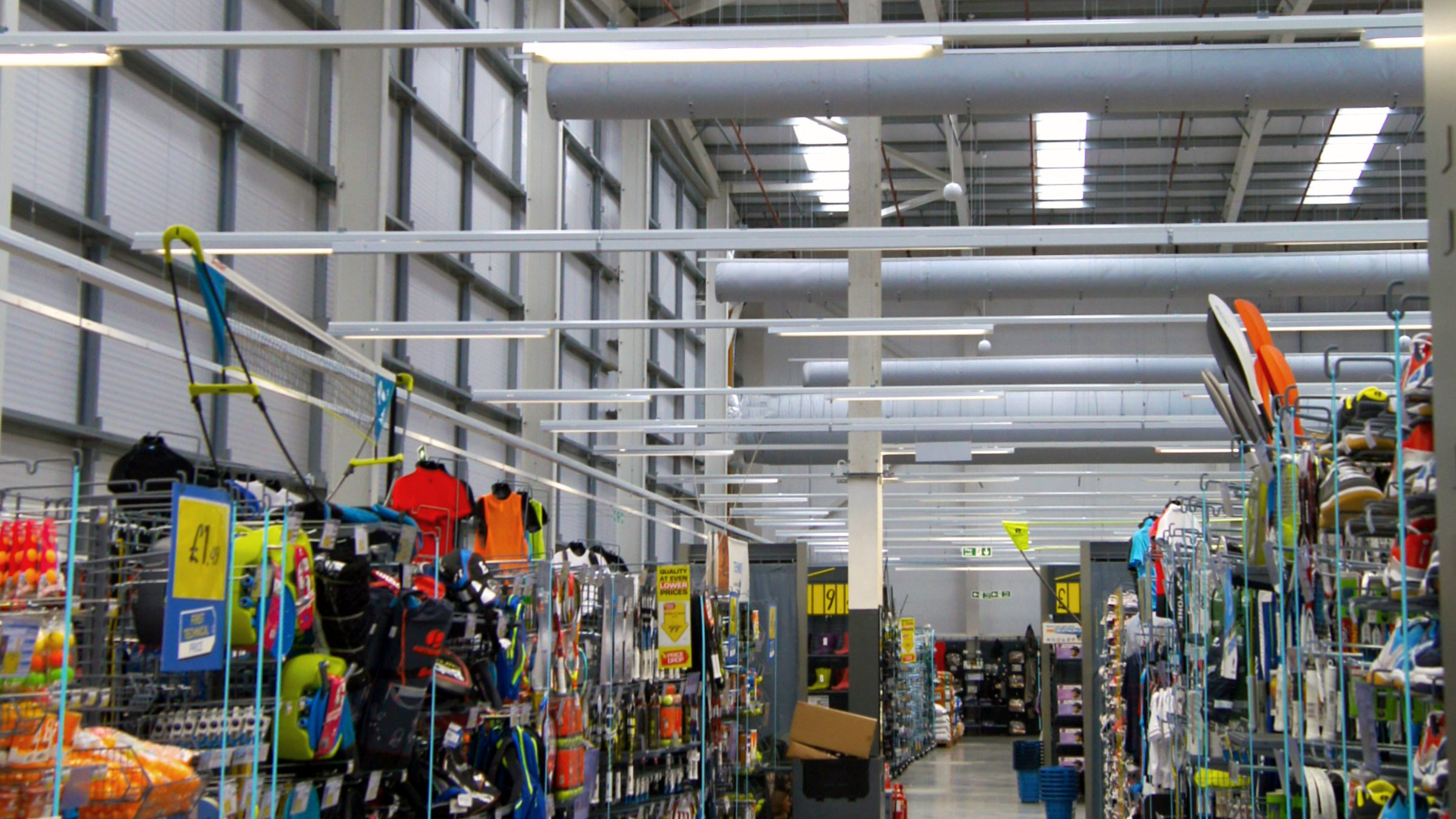 Decathlon retail area showing new fabric ducts.