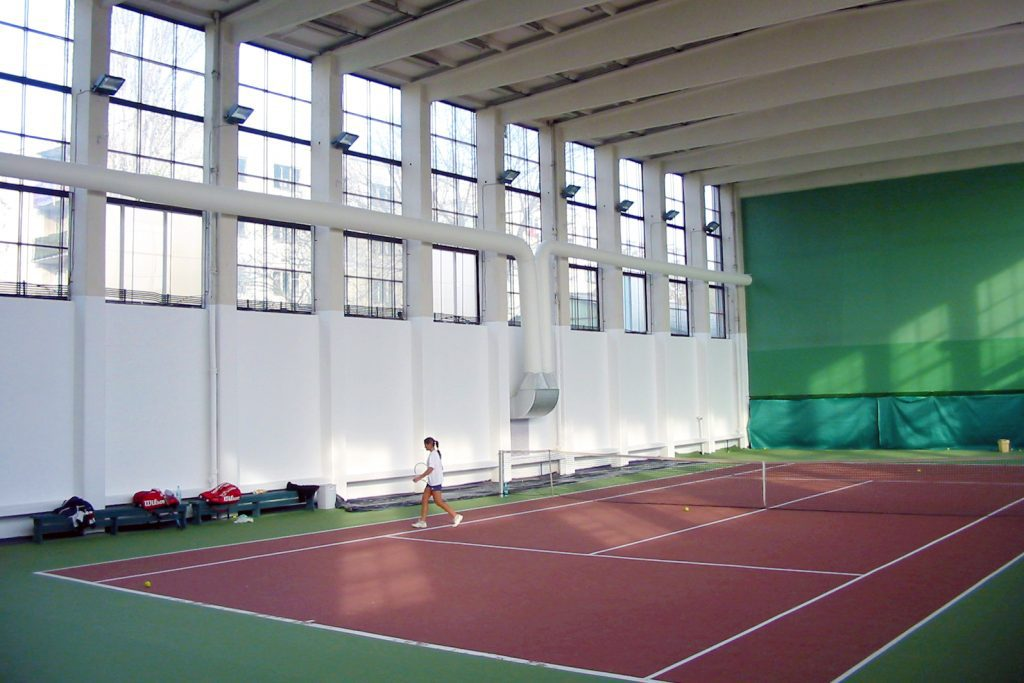 Fabric ducts in an indoor tennis court.