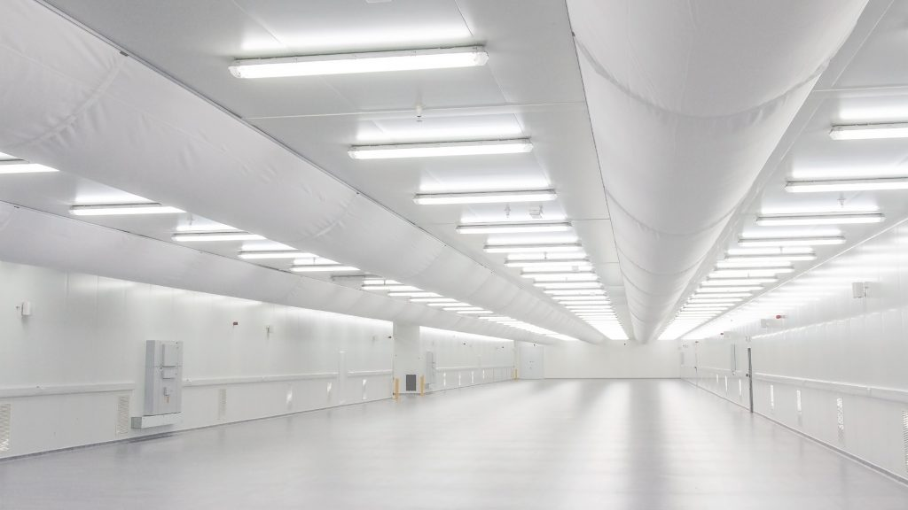 Clean room with half round Prihoda fabric ducting.