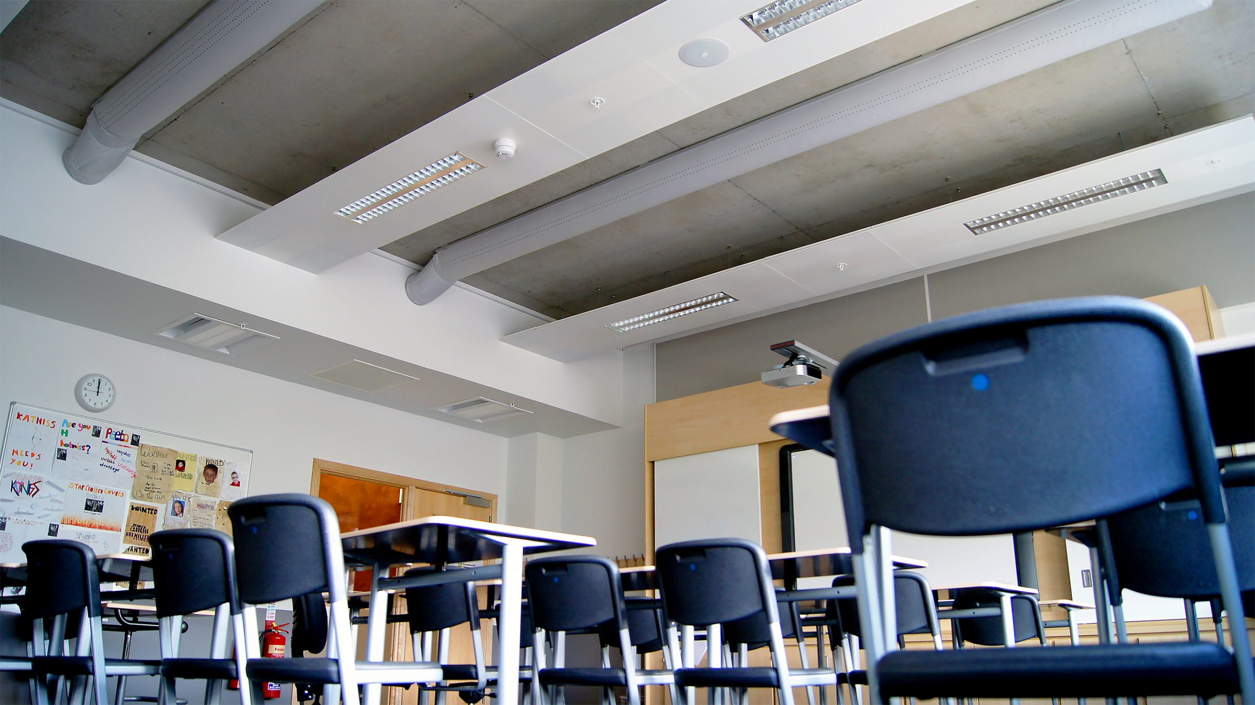 A classroom in Eastwood High School with fabric ducting