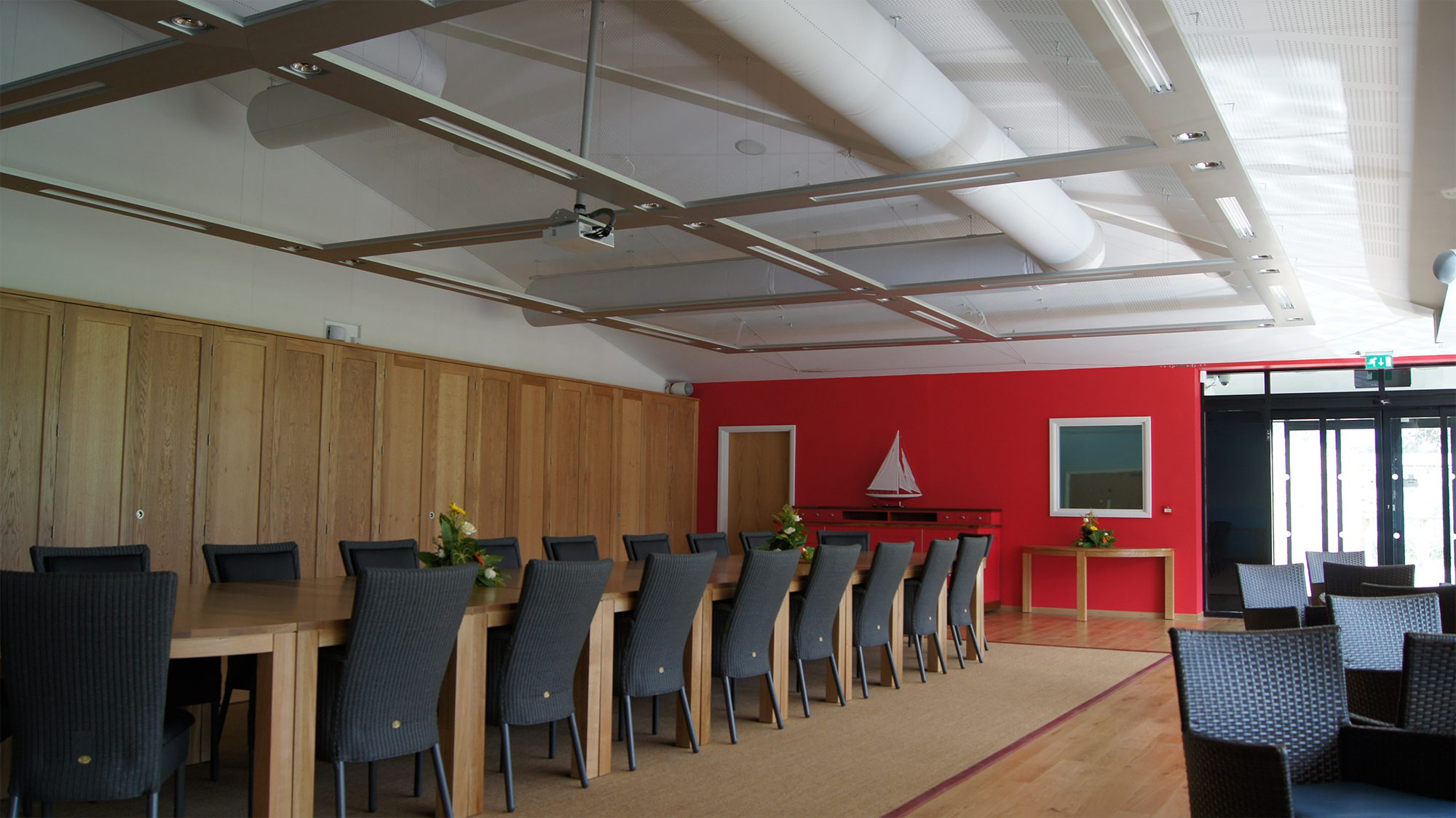 Fabric ducts in conference room at Twycross Zoo