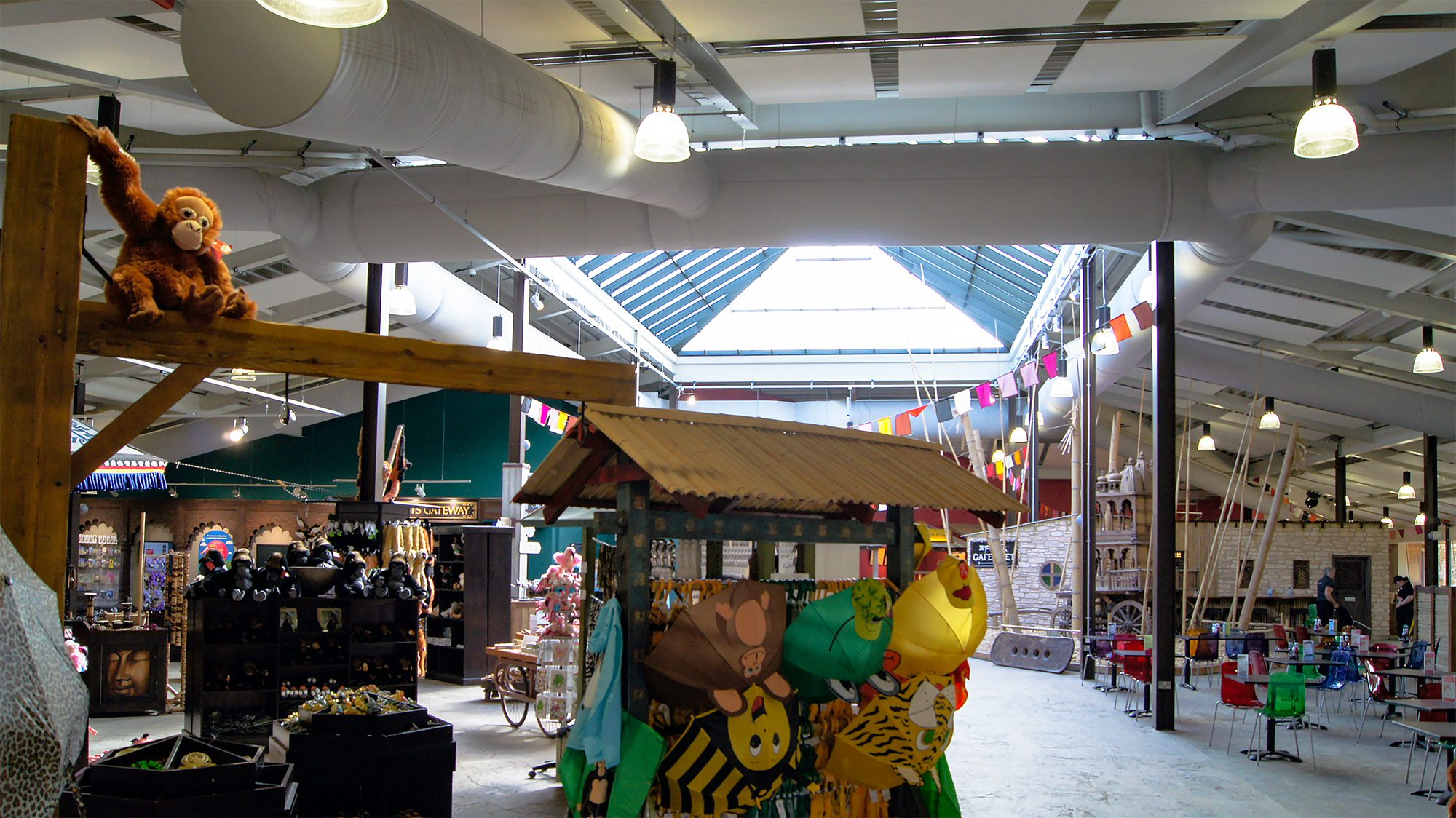 Twycross Zoo restaurant and gift shop with fabric ducting by Prihoda