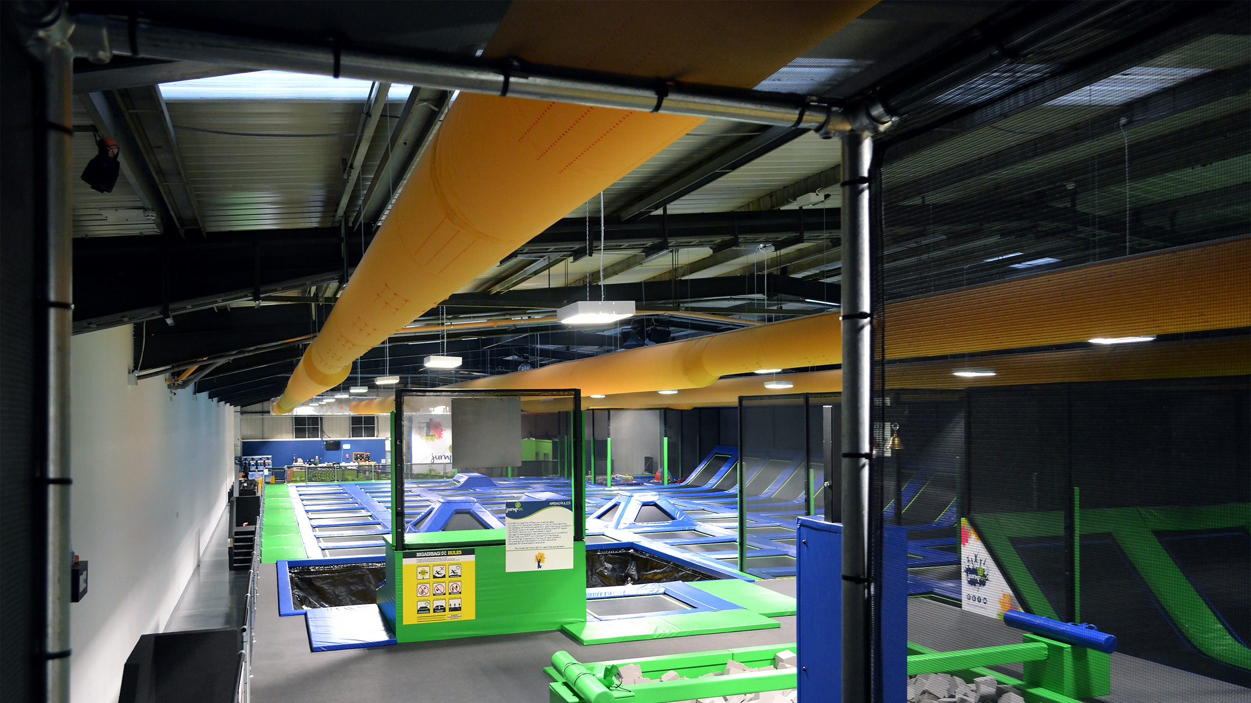 Commercial textile ducts for trampoline park