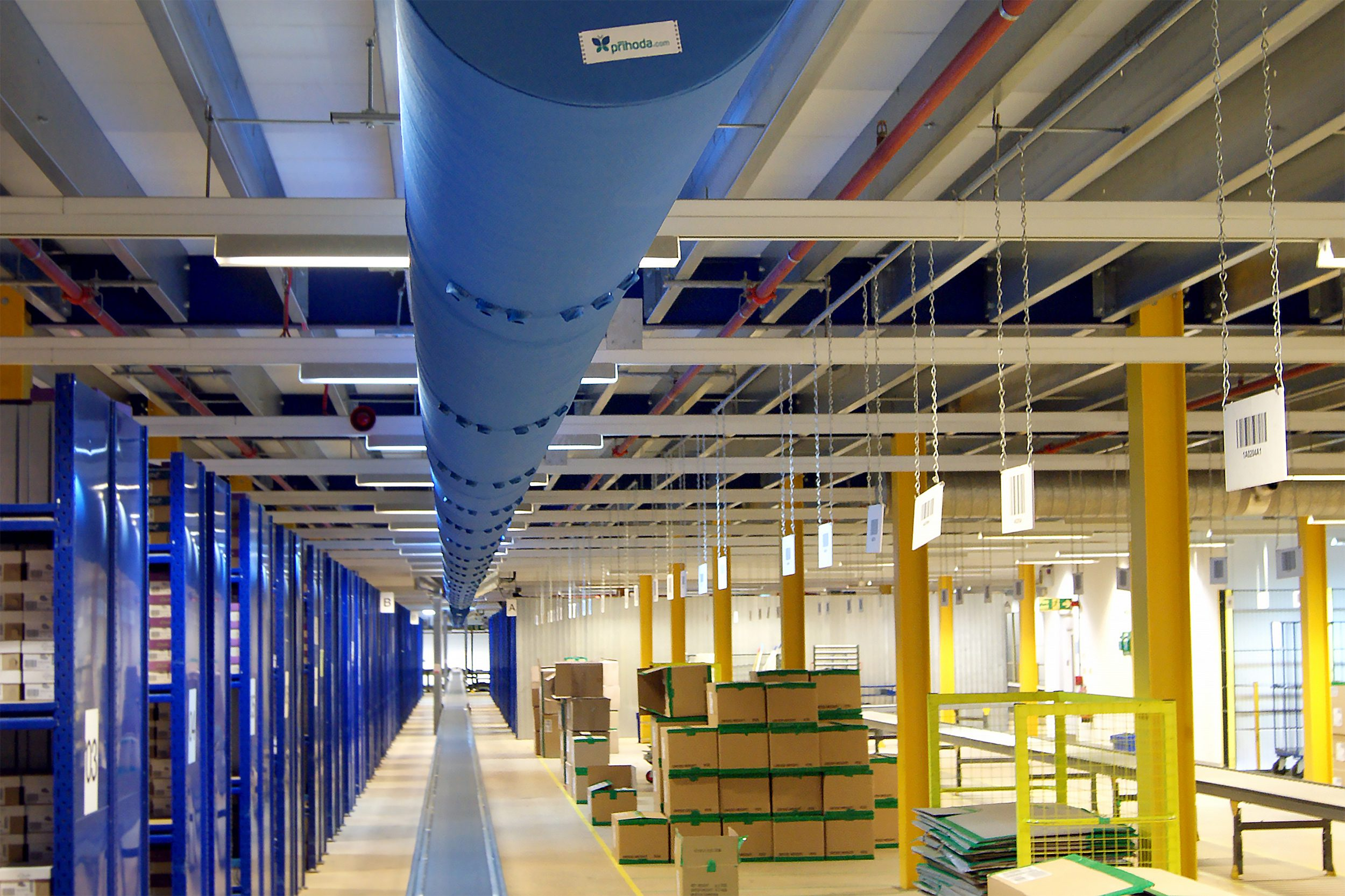 Blue fabric ducting in a warehouse