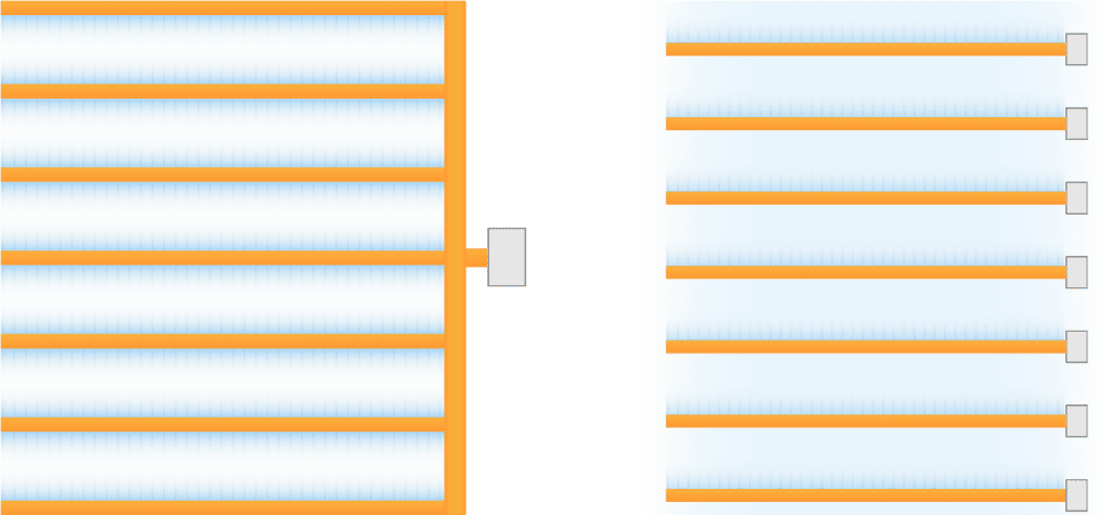 Duct layout options for vertical farms